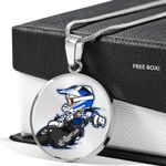 Motor Bike Lover Cartoon Circle Pendant Necklace Gift For Women