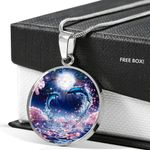 Love Dolphin Couple Full Moon Circle Pendant Necklace Gift For Women