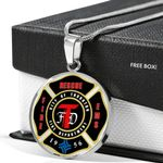 Fire Fighter Rescue Fire EMS Circle Pendant Necklace Gift For Men