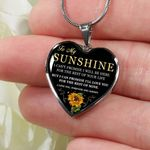 The Rest Of Mine Sunflower Heart Pendant Necklace Gift For My Sunshine