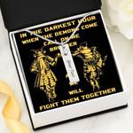 Samurai In The Darkest Hour Birthstone Name Bar Necklace Gift For Women