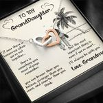 Palm Tree When We're Apart Interlocking Hearts Necklace Gift For Granddaughter