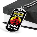 Dog Tag Pendant Necklace Gift For Men Until The Real Welder Shows Up