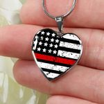 Thin Red Line Heart Pendant Necklace Gift For Women