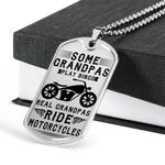 Real Grandpas Ride Motorcycles Dog Tag Pendant Necklace Gift For Men