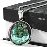 Little Green Dragon Stainless Circle Pendant Necklace Gift For Women