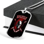 Gym Spartan Warrior Fearless Dog Tag Pendant Necklace Gift For Men