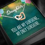 My Only Sunshine Interlocking Hearts Necklace Gift For Daughter