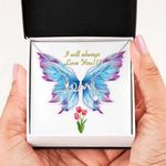 Butterfly Wing Always Love You Scripted Love Necklace Gift For Women