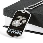 Stainless Dog Tag Pendant Necklace Gift For Women Proud Marine Corp Mother