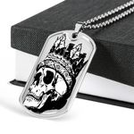 Skull King The Death Dog Tag Pendant Necklace Gift For Men