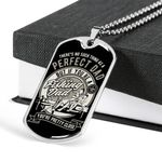 There's No Such Thing As A Perfect Dad Dog Tag Pendant Necklace Gift For Fishing Lovers