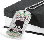 Grandpa Bear Family Dog Tag Pendant Necklace Gift For Men