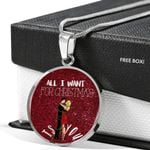 All I Want For Christmas Circle Pendant Necklace Gift For Wife