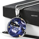 Playful Dolphin Sky Full Of Stars Circle Pendant Necklace Gift For Women