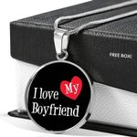I Love My Boyfriend Circle Pendant Necklace Gift For Women