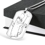 Witch Cat Magic World Dog Tag Pendant Necklace Gift For Men
