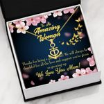 Always Be Thankful For All The Love Message Card Anchor Necklace Gift For Mum