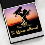 Eres La Mejor Te Quiero Mama Message Card Anchor Necklace Gift For Women