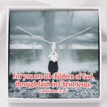 Child Of God Inspirational Message Gift 14K White Gold Alluring Beauty Necklace With Mahogany Style Gift Box
