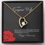 I Love You Gift For Gorgeous Wife 18K Gold Forever Love Necklace