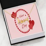 Circled Hearts Gitf For Mom Happy Women's Day Scripted Love Necklace S