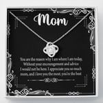 I Love You The Most Black Gift For Mom Love Knot Necklace