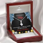 Birthday Gift For Wife Love You Sweetly 14K White Gold Alluring Beauty Necklace