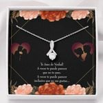 Flowers With Meaningful Message Card Gift For Lover 14K White Gold Alluring Beauty Necklace