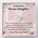 Gift For Bonus Daughter All The Qualities Message Card Love Knot Necklace