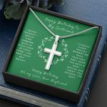 I Never Thought Green Background Cross Necklace Birthday Gift For Lovers