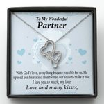 Gift For Partner Love And Many Kisses Double Hearts Necklace