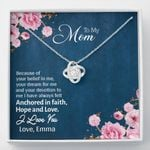 Anchored In Hope Gift For Mom Custom Name Love Knot Necklace