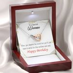 Gift For Special Woman Happy Birthday Interlocking Hearts Necklace With Mahogany Style Gift Box