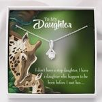I Don't Have A Step Daughter Gift For Daughter 14K White Gold Alluring Beauty Necklace With Mahogany Style Gift Box
