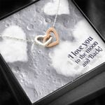 I Love You To The Moon And Back Interlocking Hearts Necklace