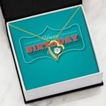 Happy Birthday Blue Background 18K Gold Forever Love Necklace Gift For Forever Love Necklace Forever Love Necklace