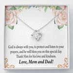 God Is Always With You Love Knot Necklace Parents Gift For Daughter