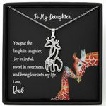 Giraffe Couple Necklace Dad Gift For Daughter You Put The Laugh In Laughter