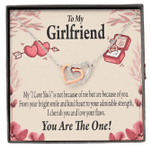 Gift For Girlfriend You Are The One Interlocking Hearts Necklace With Mahogany Style Gift Box