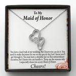 Double Hearts Necklace Gift For Maid Of Honor A Hard Task