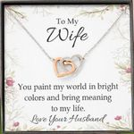 You Paint My World In Bright Colors Gift For Wife Interlocking Hearts Necklace
