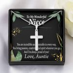 Gift For My Niece You Are Incredible Artisan Crafted Cross Necklace