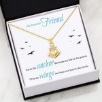 I'll Be The Wing Message Card Anchor Necklace Gift For Bestie