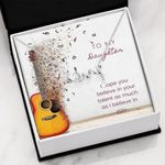 Guitar Gift For Daughter Believe In Yourself Scripted Love Necklace