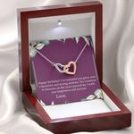 Gift For Daughter Happy Birthday Purple Interlocking Hearts Necklace With Mahogany Style Gift Box