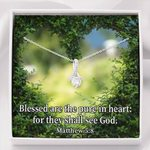 Blessed Are The Pure In Heart Inspirational Message Gift Alluring Beauty Necklace