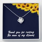 Thank You Love Knot Necklace With Mahogany Gift Box For Mom