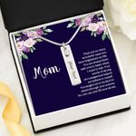 Birthstone Name Bar Necklace Gift For Mom You're Always Be There Dark Blue Background