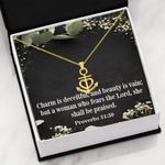 Religious Gift Charm Is Deceitful And Beauty Is Vain 18K Gold Anchor Necklace